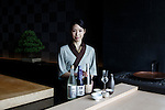 Tokyo, June 28 2013 - Portrait of Kaoru IZUHA, manager of Sushi SORA restaurant in Mandarin Oriental and winner of 2013 sake sommelier world championship.