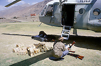 Helicopter flying from a Tadzhik military base to delivering arms and ammunition to warlord Ahmad Shah Massoud in the heart of Panshir.