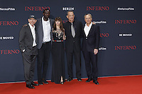 Ron Howard, Omar Sy, Felicity Jones, Tom Hanks and Dan Brown attending the &quot;Inferno&quot; premiere held at CineStar, Sony Center, Potsdamer Platz, Berlin, Germany, 10.10.2016. <br /> Photo by Christopher Tamcke/insight media /MediaPunch ***FOR USA ONLY***