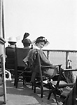 Niagara Falls, New York:  Sarah Stewart on deck of the Dalhousie City in route to Queenston Ontario - 1914