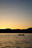 """Sunrise Fishing on Lake Tahoe 5"" - Photograph of a small boat fishing on Lake Tahoe at sunrise during the 2012 Jake's on the Lake fishing derby."