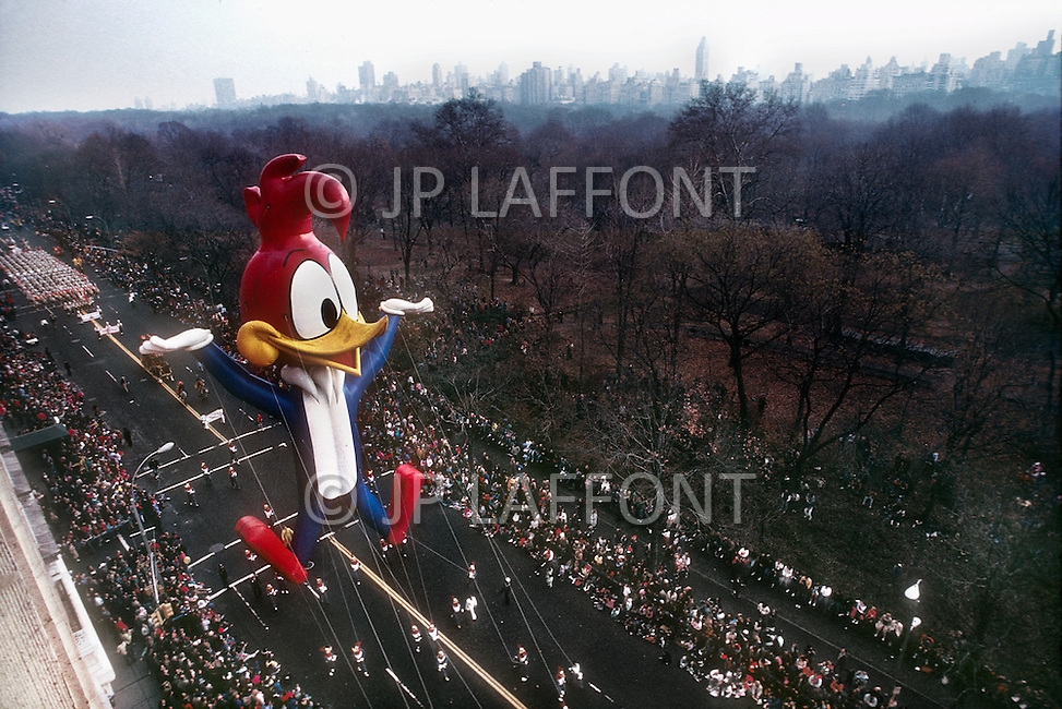 New York, U.S.A, 26th, November, 1987. Woody Wood Picker seen at the famous Macy's Thanksgiving Parade.