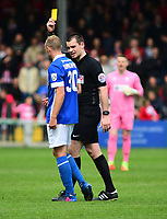 Macclesfield Town's Luke Summerfield is shown a yellow card by referee Tom Nield<br /> <br /> Photographer Andrew Vaughan/CameraSport<br /> <br /> Vanarama National League - Lincoln City v Macclesfield Town - Saturday 22nd April 2017 - Sincil Bank - Lincoln<br /> <br /> World Copyright &copy; 2017 CameraSport. All rights reserved. 43 Linden Ave. Countesthorpe. Leicester. England. LE8 5PG - Tel: +44 (0) 116 277 4147 - admin@camerasport.com - www.camerasport.com