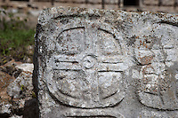 Carved, bas-relief glyphs, Detail of the Codz Poop?s Altar of the Glyphs, Puuc Architecture, 700 ? 900 AD, Kabah, Yucatan, Mexico. Picture by Manuel Cohen
