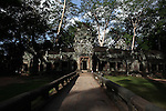Late afternoon at the western gate of Ta Prohm, at Angkor Thom, Cambodia.