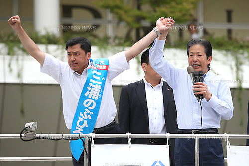 Komeito party leader Natsuo Yamaguchi, right, attends a stump speech in support of Nobuhiro Miura, a local candidate in Kawasaki, near Tokyo, Japan on July 8, 2016. Japan's upper house election will be held on this sunday. (Photo by AFLO)