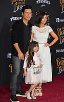 Mario Lopez, Courtney Laine Mazza &amp; Gia Francesca Lopez at the premiere for Disney's &quot;Beauty and the Beast&quot; at El Capitan Theatre, Hollywood. Los Angeles, USA 02 March  2017<br /> Picture: Paul Smith/Featureflash/SilverHub 0208 004 5359 sales@silverhubmedia.com