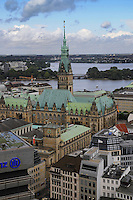 Panorama of Hamburg with Rathaus town hall and port. Made from the deck of old St.Nikolai church.