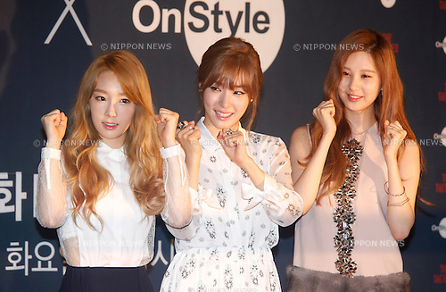 Girls' Generation-TTS, Aug 22, 2014 : (L-R) Tae-Yeon, Tiffany and Seo-Hyun of Girls' Generation-TTS, a subgroup of South Korean girl group Girls' Generation or SNSD, attend a press conference for their new variety TV show, OnStyle. The Taetiseo at the CJ E&M Center in Seoul, South Korea.  (Photo by Lee Jae-Won/AFLO) (SOUTH KOREA)