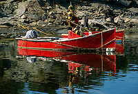 USA, Newport, RI - Lobsterboats rest quietly in calm lagoon off of Ocean Drive.