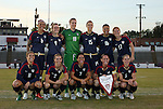 01 November 2008: The U.S. starters pose for a team photo before the game. Front row (l to r): Carli Lloyd, Heather Mitts, Shannon Boxx, Christie Rampone, Lindsay Tarpley. Back row: Natasha Kai, Heather O'Reilly, Nicole Barnhart, Kate Markgraf, Angela Hucles, Lori Chalupny. The United States Women's National Team defeated the South Korea Women's National Team 3-1 at University of Richmond Stadium in Richmond, VA in a women's international friendly soccer match that was part of the U.S. team's post-Olympic Achieve Your Gold tour.