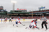 Matt Benning (NU - 5), Adam Chapie (UML - 13), Mike Szmatula (NU - 19), Stephen Buco (UML - 11), Chris Aughe - The Northeastern University Huskies defeated the University of Massachusetts Lowell River Hawks 4-1 (EN) on Saturday, January 11, 2014, at Fenway Park in Boston, Massachusetts.