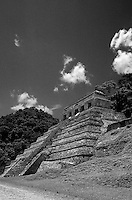 The Temple of the Inscriptions at the Mayan ruins of Palenque, Chiapas, Mexico