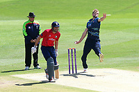 Calum Haggett in bowling action for Kenr during Kent Spitfires vs Essex Eagles, Royal London One-Day Cup Cricket at the St Lawrence Ground on 17th May 2017