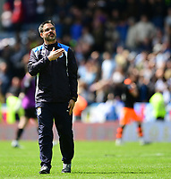Huddersfield Town manager David Wagner taps the club badge on his top after the game<br /> <br /> Photographer Chris Vaughan/CameraSport<br /> <br /> The EFL Sky Bet Championship Play-Off Semi Final First Leg - Huddersfield Town v Sheffield Wednesday - Saturday 13th May 2017 - The John Smith's Stadium - Huddersfield<br /> <br /> World Copyright &copy; 2017 CameraSport. All rights reserved. 43 Linden Ave. Countesthorpe. Leicester. England. LE8 5PG - Tel: +44 (0) 116 277 4147 - admin@camerasport.com - www.camerasport.com
