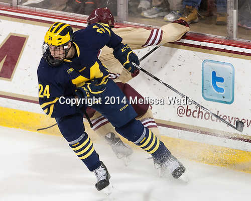 Kevin Lohan (Michigan - 24) - The Boston College Eagles defeated the visiting University of Michigan Wolverines 5-1 (EN) on Saturday, December 13, 2014, at Kelley Rink in Conte Forum in Chestnut Hill, Massachusetts.