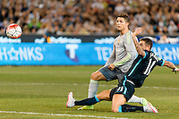 Melbourne, 24 July 2015 - Cristiano Ronaldo of Real Madrid kicks a goal in game three of the International Champions Cup match between Manchester City and Real Madrid at the Melbourne Cricket Ground, Australia. Real Madrid def City 4-1. (Photo Sydney Low / AsteriskImages.com)
