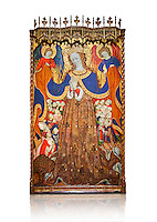 Gothic Catalan altarpiece depicting the Madonna of Mercy by Bonant Zaortiga, circa 1430-1440, tempera and gold leaf on wood, from the church of Mare de Dieu de Carrasca , Blancas, Terol, Spain. Against a white background.<br /> Bonnat Zaortiga was one of the most prominent representatives of the international Gothic. The Mother of God of Mercy  protects humans with her cape, symbolizing one of the most feared evils of the European Middle Ages, plague, often understood as a punishment for the sins of mankind. This was the central panel of the altarpiece of the church of the Mother of God. National Museum of Catalan Art, Barcelona, Spain, inv no: MNAC 3945.