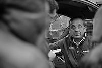 Scheldeprijs 2012..Herman Frison serving the press post-race