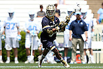 23 April 2016: Notre Dame's Pierre Byrne. The University of North Carolina Tar Heels hosted the University of Notre Dame Fighting Irish at Kenan Stadium in Chapel Hill, North Carolina in a 2016 NCAA Division I Men's Lacrosse match. UNC won the game 17-15.
