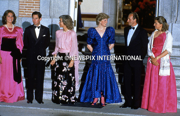 "PRINCE CHARLES AND PRINCESS DIANA SPANISH TOUR 1987.attend the official Dinner at Zarzuela Palace, Madrid_April 1987..Picture Shows: The Royal couple with King Juan Carlos, Queen Sofia, Infanta Cristina and Infanta Elena.Mandatory Credit Photo: ©Francis Dias/NEWSPIX INTERNATIONAL..**ALL FEES PAYABLE TO: ""NEWSPIX INTERNATIONAL""**..IMMEDIATE CONFIRMATION OF USAGE REQUIRED:.Newspix International, 31 Chinnery Hill, Bishop's Stortford, ENGLAND CM23 3PS.Tel:+441279 324672  ; Fax: +441279656877.Mobile:  07775681153.e-mail: info@newspixinternational.co.uk"