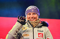 February 16, 2017: 1st place Tessa WORLEY (FRA) on stage at the medal ceremony for the women's giant slalom event of the FIS Alpine World Ski Championships at St Moritz, Switzerland. Photo Sydney Low