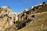 The town of Ronda, Andalusia, Spain, perched on both sides of the Tajo Gorge and joined by the New Bridge (Puente Nuevo) which was built in the late 18th century. Ref: 200211051342...Copyright Image from Victor Patterson, 54 Dorchester Park, Belfast, UK, BT9 6RJ..Tel: +44 28 9066 1296.Mob: +44 7802 353836.Voicemail +44 20 8816 7153.Skype: victorpattersonbelfast.Email: victorpatterson@mac.com.Email: victorpatterson@ireland.com (back-up)..IMPORTANT: If you wish to use this image or any other of my images please go to www.victorpatterson.com and click on the Terms & Conditions. Then contact me by email or phone with the reference number(s) of the image(s) concerned.