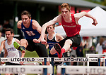 LITCHFIELD,  CT-052017JS10- Northwestern's Aaron Gable and Nonnewaug's Conor Coleman battle in the finals of the 110M hurdles during the Berkshire League Outdoor Track and Field Championships Saturday at the Plumb Hill Sports Complex in Litchfield. Gable won the race with a time of 15.97. <br /> Jim Shannon Republican-American