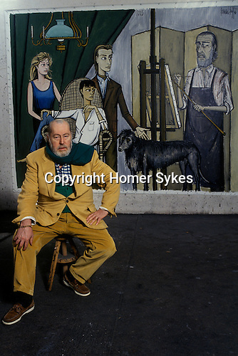 Bernard Buffet French artist expressionist painter (1928-1999) France Circa 1995. His studio at home Tourtour Provence France. The painting is of his family with Annabel seated.