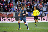 Robbie Keane (14) of the Los Angeles Galaxy during the 1st leg of the Major League Soccer (MLS) Western Conference Semifinals against the New York Red Bulls at Red Bull Arena in Harrison, NJ, on October 30, 2011.
