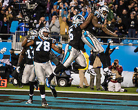 The Carolina Panthers play the New England Patriots at Bank of America Stadium in Charlotte North Carolina on Monday Night Football.  The Panthers defeated the Patriots 24-20.  Carolina Panthers wide receiver Ted Ginn (19), Carolina Panthers fullback Mike Tolbert (35), Carolina Panthers guard Nate Chandler (78)