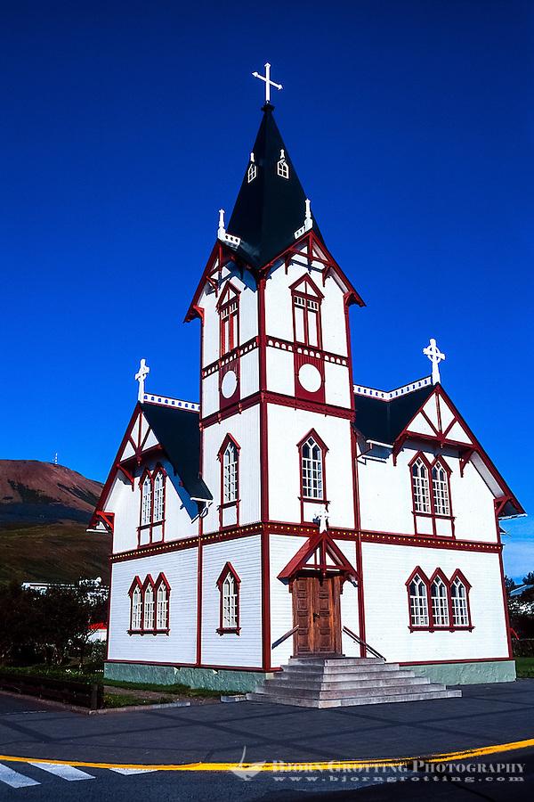 Iceland. The beautiful old church in Husavik.