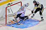 24 January 2009: Nashville Predators goaltender Pekka Rinne makes a save for the Rookies during the NHL YoungStars Game where the Rookies defeated the Sophomores 9-5 in the NHL SuperSkills Competition, part of the All-Star Weekend at the Bell Centre in Montreal, Quebec, Canada. ***** Editorial Sales Only ***** Mandatory Photo Credit: Ed Wolfstein Photo
