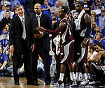 MS State Head Coach Rick Stansbury gets a technical foul during the first half of the UK men's basketball game vs. Mississippi State at Rupp Arena on Tuesday, Feb. 15, 2011.  Photo by Britney McIntosh | Staff