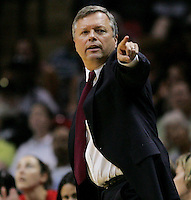 San Antonio head coach Dan Hughes gestures during the WNBA game between the San Antonio Silver Stars and the Washington Mystics, June 6, 2008, at the AT&T Center, San Antonio, Texas. San Antonio won 63 - 52. (Darren Abate/PressPhotoIntl.com)