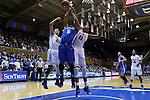 21 December 2014: Kentucky's Kyvin Goodin-Rogers (5) is defended by Duke's Azura Stevens (11) and Rebecca Greenwell (23). The Duke University Blue Devils hosted the University of Kentucky Wildcats at Cameron Indoor Stadium in Durham, North Carolina in a 2014-15 NCAA Division I Women's Basketball game. Duke won the game 89-68.