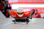 14 December 2007: Pascal Oswald, racing for Switzerland, starts his first run at the FIBT World Cup Skeleton Competition at the Olympic Sports Complex on Mount Van Hovenberg, at Lake Placid, New York, USA. ..Mandatory Photo Credit: Ed Wolfstein Photo
