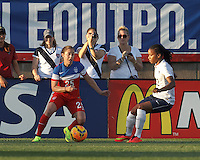 East Hartford, Connecticut - June 19, 2014: In an international friendly, United States Womens National Team (USWNT) (red/white/blue) tied France (white/blue), 2-2, at Rentschler Stadium