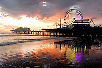 Santa Monica Pier amid the sunset on Wednesday, Sept 29, 2010.