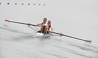Ottensheim, AUSTRIA.  DEN JM2-, Bow Nikolaj HOEGSTED and Jonas FICH  , move away from the start pontoon in their morning semi-final, at the 2008 FISA Senior and Junior Rowing Championships,  Linz/Ottensheim. Friday,  25/07/2008.  [Mandatory Credit: Peter SPURRIER, Intersport Images] Rowing Course: Linz/ Ottensheim, Austria