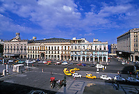 Classic American cars from the 1950s parked in front of the Capitolio Nacional Havana, Cuba