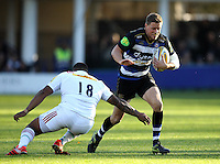 Rhys Priestland of Bath Rugby takes on the Harlequins defence. Aviva Premiership match, between Bath Rugby and Harlequins on October 31, 2015 at the Recreation Ground in Bath, England. Photo by: Alex Davidson / JMP for Onside ImagesQ