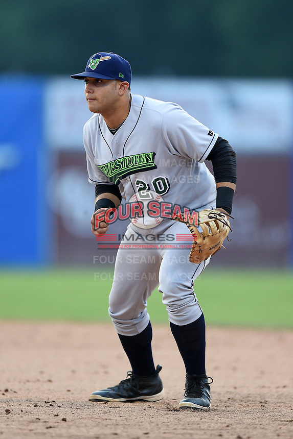 Jamestown Jammers first baseman Kevin Ross (20) during a game against the Batavia Muckdogs on July 7, 2014 at Dwyer Stadium in Batavia, New York.  Batavia defeated Jamestown 9-2.  (Mike Janes/Four Seam Images)