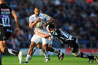 Aled Brew of Bath Rugby takes on the Exeter Chiefs defence. Aviva Premiership match, between Exeter Chiefs and Bath Rugby on October 30, 2016 at Sandy Park in Exeter, England. Photo by: Patrick Khachfe / Onside Images