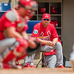 13 March 2016: St. Louis Cardinals Manager Mike Matheny watches the action during a pre-season Spring Training game against the Washington Nationals at Space Coast Stadium in Viera, Florida. The teams played to a 4-4 draw in Grapefruit League play. Mandatory Credit: Ed Wolfstein Photo *** RAW (NEF) Image File Available ***