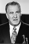 01 Nov 1972, USA --- Vice President of the United States, Spiro Agnew, held the position from 1969 to 1973 under President Richard M. Nixon. In 1972 Nixon was re-elected in one of the biggest landslide election victories in U.S. political history, defeating the democrat George McGovern with Agnew as vice-president. Nine months later, on October 10, 1973, Spiro Agnew resigned after pleading no contest to a charge of income tax evasion. The move foreshadowed Nixon's own fall. --- Image by © JP Laffont