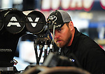 May 5, 2012; Commerce, GA, USA: NHRA crew member for top fuel dragster driver Brandon Bernstein during qualifying for the Southern Nationals at Atlanta Dragway. Mandatory Credit: Mark J. Rebilas-