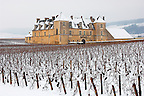 Chateau Clos de Vougeot in the snow.  France.