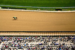Scene from above at Churchill Downs race track, home to the Kentucky Derby in Louisville, Kentucky.