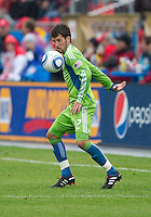 25 April 2010: Seattle Sounders defender Nathan Sturgis #12 in action during a game between the Seattle Sounders and Toronto FC at BMO Field in Toronto..Toronto FC won 2-0....